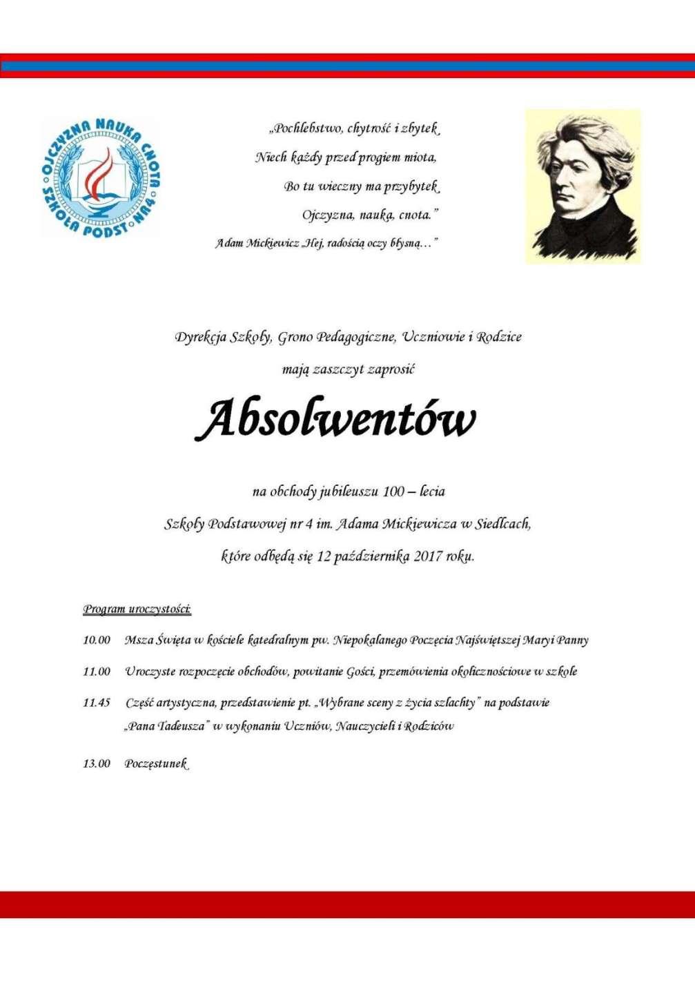 Zaproszenie Absolwenci