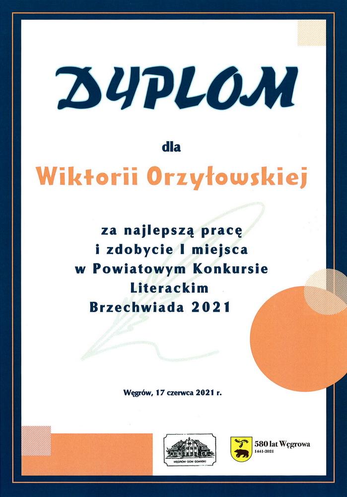 Gratulacje dla Wiktorii Orzyłowskiej z 6d!